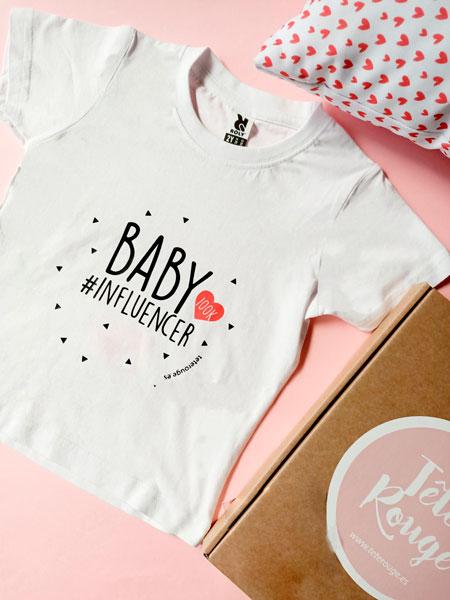 camiseta blanca baby influencer manga corta. Tete rouge