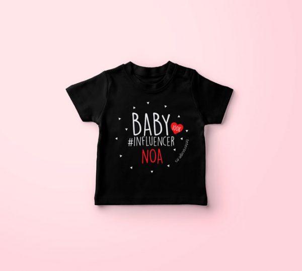 camiseta negra baby influencer personalizada. Tete Touge