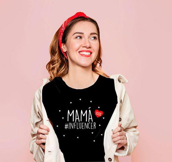 camiseta mama influencer en negro. Tete Rouge