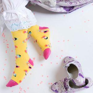 Tete rouge calcetines para falleras en amarillo