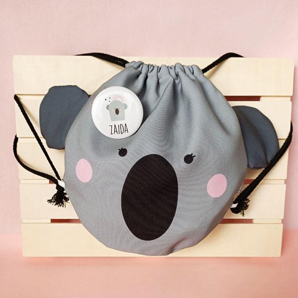 mochila saco con forma de koala