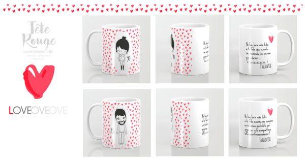 Tete rouge taza para san valentin